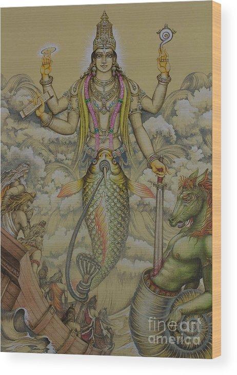 Matsya Wood Print featuring the painting Matsya Avatar by Vrindavan Das