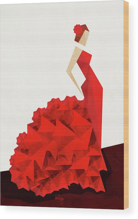 Dance Wood Print featuring the digital art The Dancer Flamenco by Vess DSign