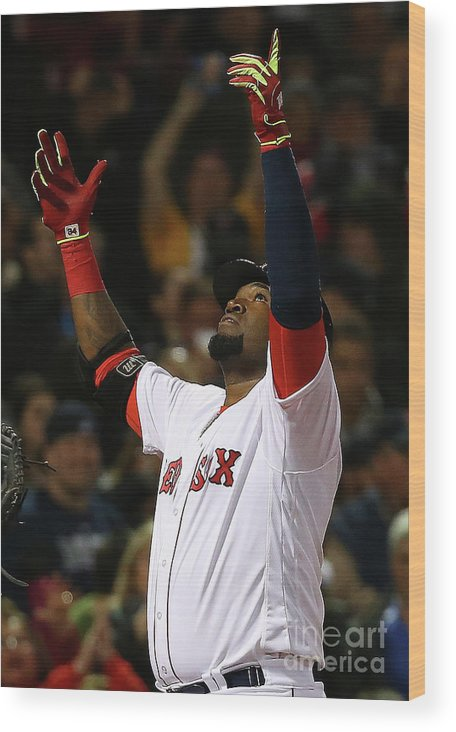 Three Quarter Length Wood Print featuring the photograph David Ortiz by Jim Rogash