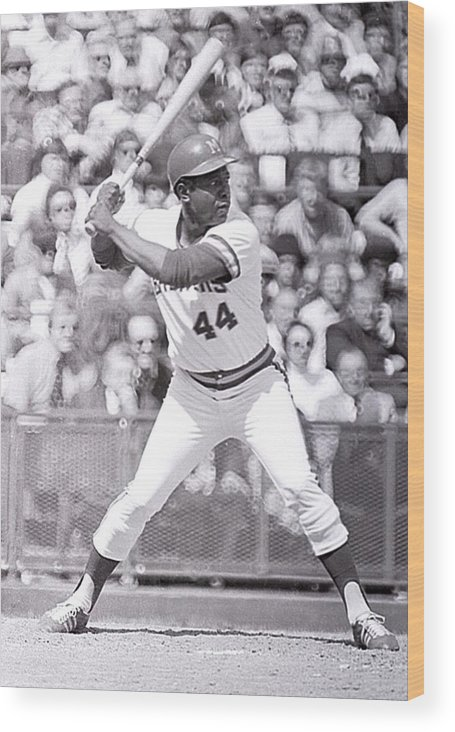 American League Baseball Wood Print featuring the photograph Hank Aaron by Ronald C. Modra/sports Imagery
