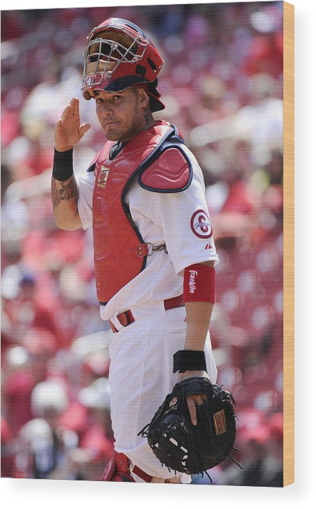 St. Louis Cardinals Wood Print featuring the photograph Yadier Molina by Ron Vesely