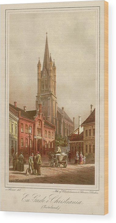 Oslo Wood Print featuring the drawing Oslo (formerly Christiania) Street by Mary Evans Picture Library