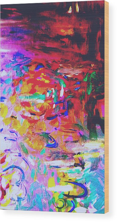 Abstract Lily Pond Wood Print featuring the painting Lily Pond by Nikki Dalton