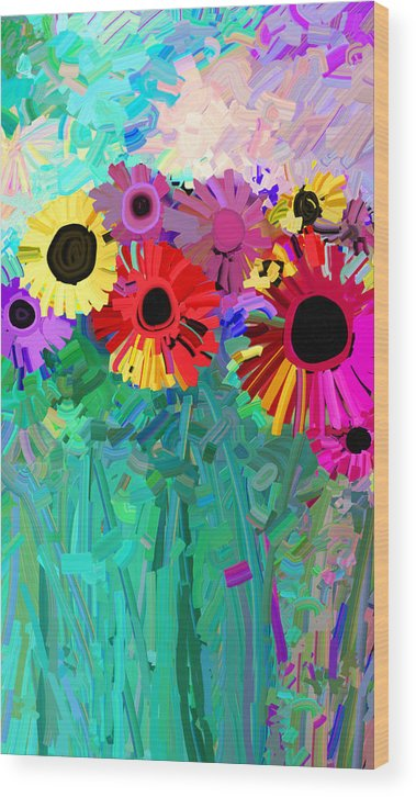 Flower Wood Print featuring the painting abstract - flowers- Flower Power Four by Ann Powell