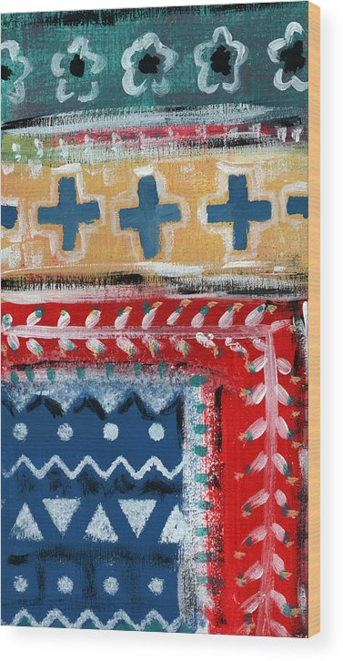 Fiesta Wood Print featuring the mixed media Fiesta 3- Colorful Pattern Painting by Linda Woods
