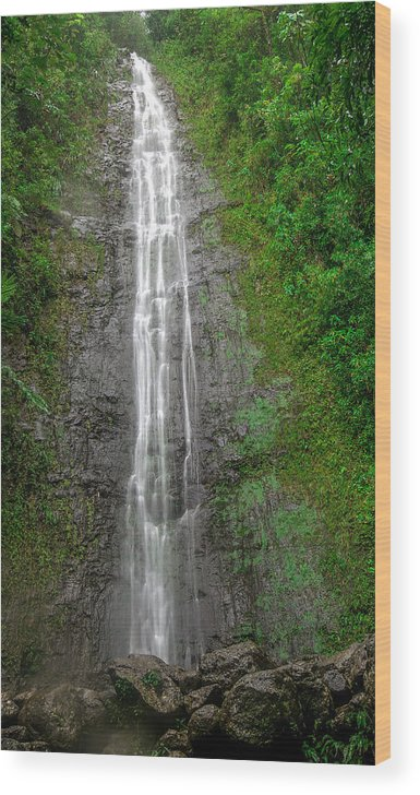 Hawaii Wood Print featuring the photograph Hawaiian Waterfall by Robert Aycock