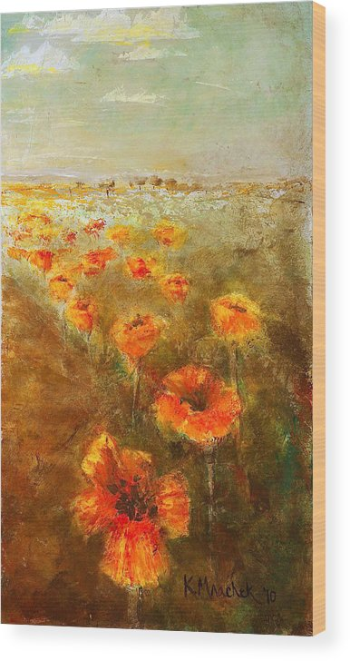 Abstract Landscape Wood Print featuring the painting Poppy Field Triptic Right by Kathleen Mrachek