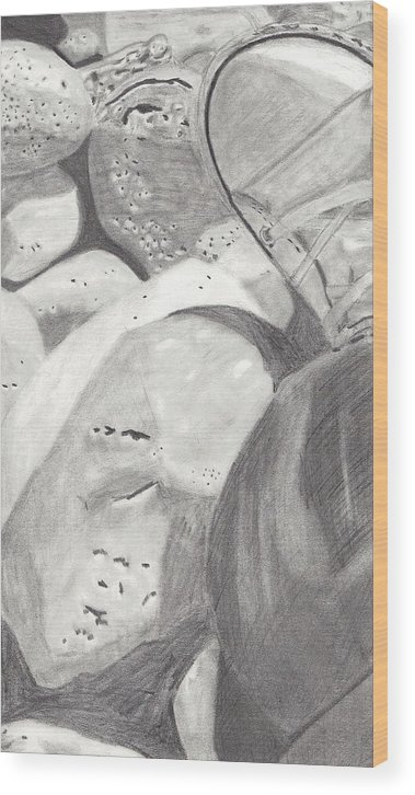 Rocks Wood Print featuring the drawing Rocks And Shoe by Random Merlin Ellis