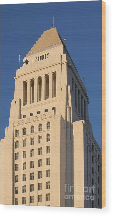 Landmark Wood Print featuring the photograph Los Angeles City Hall by Henrik Lehnerer