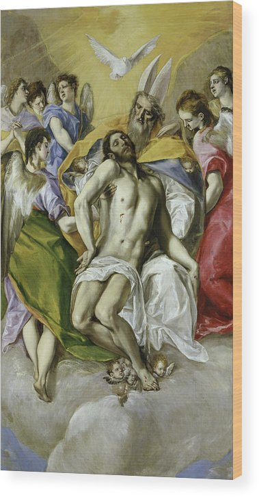 Christ Wood Print featuring the painting The Holy Trinity by El Greco