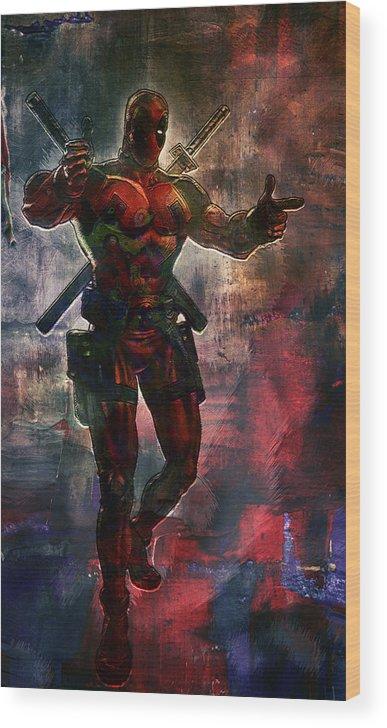 Batman Wood Print featuring the digital art Deadpool by Anna J Davis