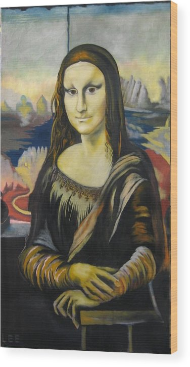 Wood Print featuring the painting Mona Lisa by Ronnie Lee
