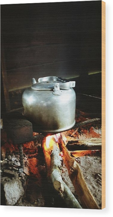 Antique Wood Print featuring the photograph Antique Water Kettle On A Fire In Malaysia by Gosta Eger