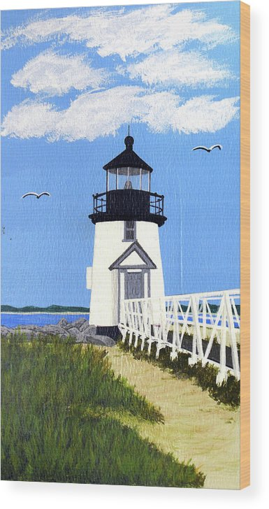 Lighthouse Wood Print featuring the painting Brant Point Lighthouse Painting by Frederic Kohli