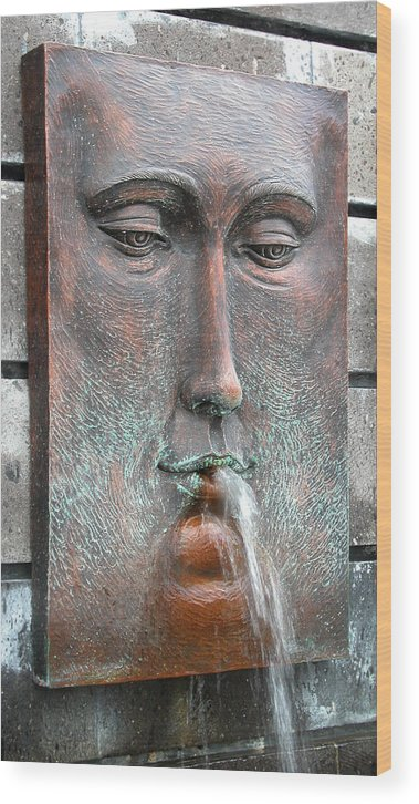 Fountain Wood Print featuring the photograph Face Fountain - Riviera Maya Mexico by Frank Mari