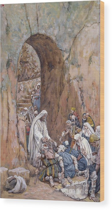 Did Wood Print featuring the painting He Did No Miracles Save That He Healed Them by Tissot