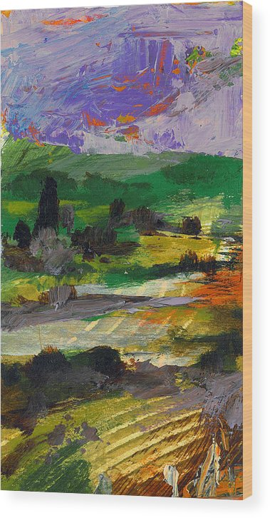 Landscape Wood Print featuring the painting Hillside Pastures by Dale Witherow