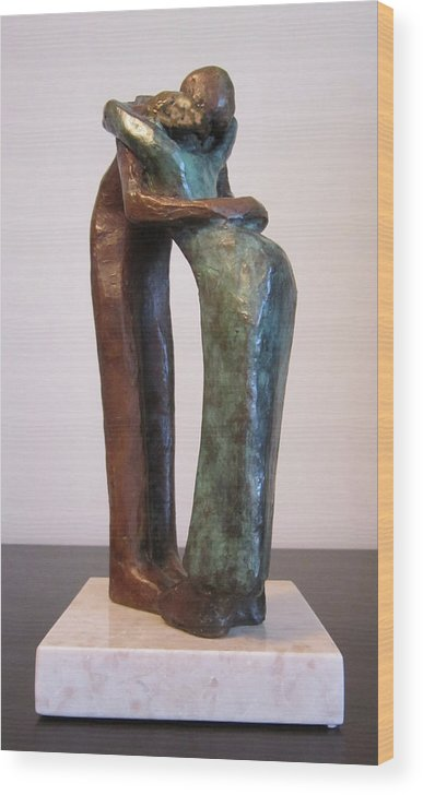 People Wood Print featuring the sculpture Hold Me by Bozena Happach
