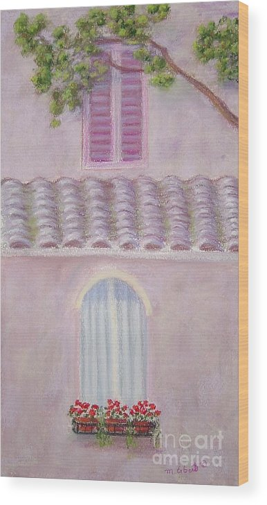 Window Boxes Wood Print featuring the painting La Casa Rosa Lunga Il Treve by Mary Erbert