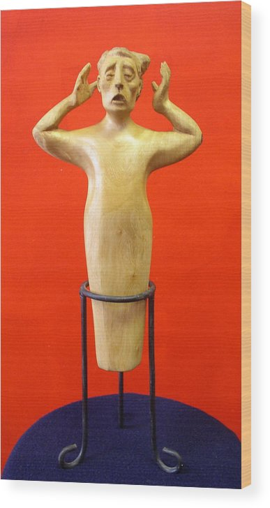 Figure Wood Wood Print featuring the sculpture Losing More... by Victor Amor
