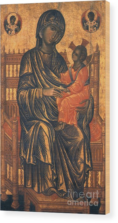 13th Century Wood Print featuring the photograph Madonna Icon, 13th Century by Granger