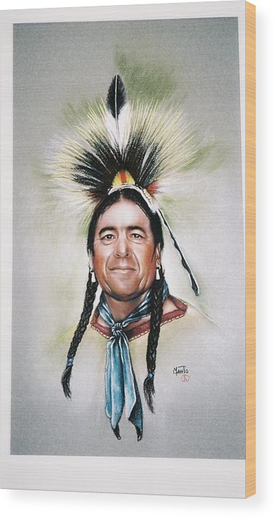 Indian Wood Print featuring the painting New Mexico Apache Pow Wow Dancer by Mahto Hogue