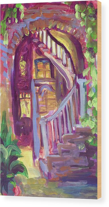Patio Wood Print featuring the painting New Orleans Patio by Saundra Bolen Samuel