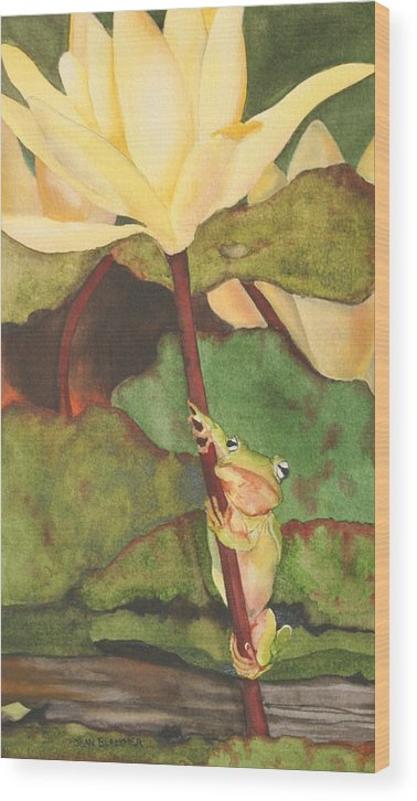 Frog Wood Print featuring the painting Peeping Tom by Jean Blackmer