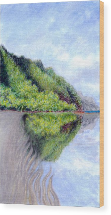 Coastal Decor Wood Print featuring the painting Reflection by Kenneth Grzesik