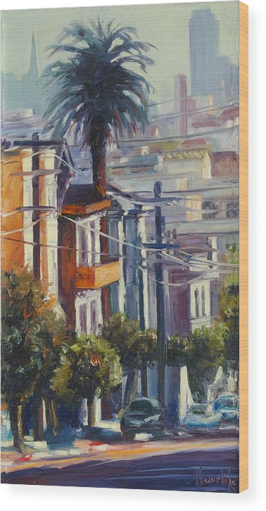Cityscape Wood Print featuring the painting Post Street by Rick Nederlof