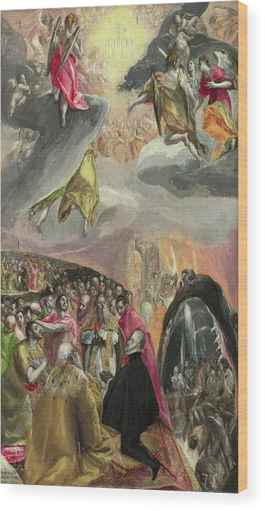 Catholic Wood Print featuring the painting The Adoration Of The Name Of Jesus by El Greco