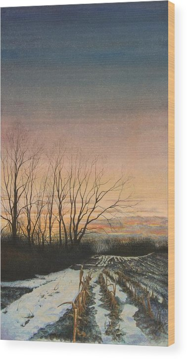 Landscape Wood Print featuring the painting Winter Field by Stephen Bluto