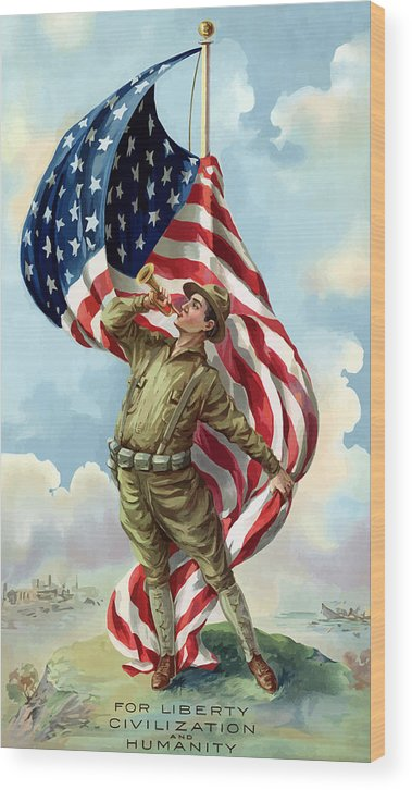 Ww1 Wood Print featuring the painting World War One Soldier by War Is Hell Store