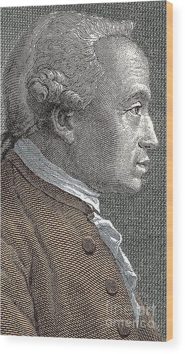 Kant Wood Print featuring the drawing A Portrait Of Immanuel Or Emmanuel Kant by European School