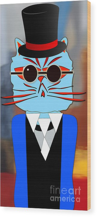 Kitten Paintings Mixed Media Mixed Media Wood Print featuring the mixed media Cool Cat by Marvin Blaine