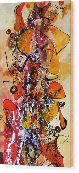 Abstract Wood Print featuring the painting Aripi De Toamna 2 by Elena Bissinger