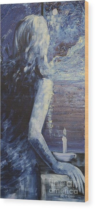 Figurative Wood Print featuring the painting Candle On The Window by Roni Ruth Palmer