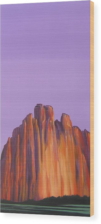 Landscape Wood Print featuring the painting Inscription Rock by Hunter Jay