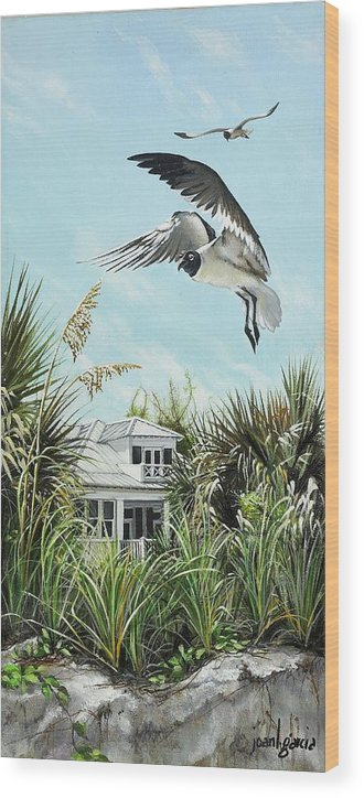 Bird Wood Print featuring the painting North Shore Landing by Joan Garcia