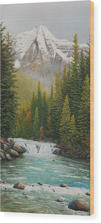 Jake Vandenbrink Wood Print featuring the painting Robson River Falls by Jake Vandenbrink