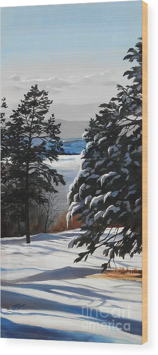 Winter Scene Wood Print featuring the painting Winter Serenity by Suzanne Schaefer