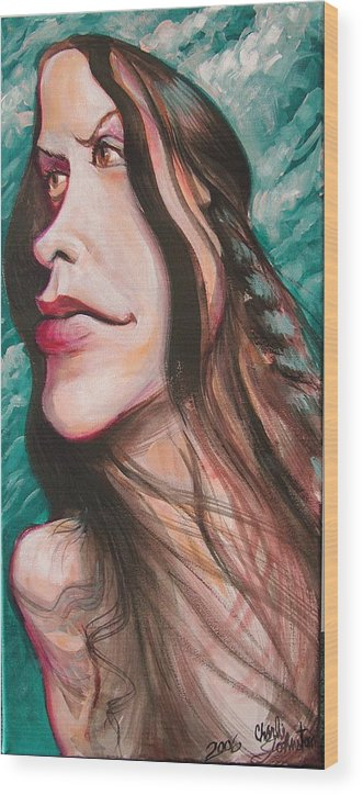 Portrait Wood Print featuring the painting Alanis Morissette by Charles Johnston