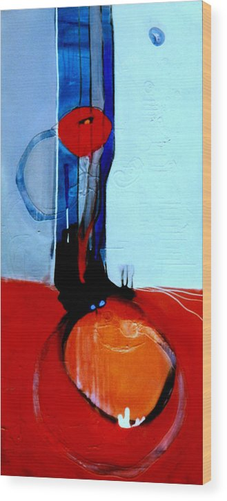 Abstract Wood Print featuring the painting Ball And Chain Outcome by Marlene Burns