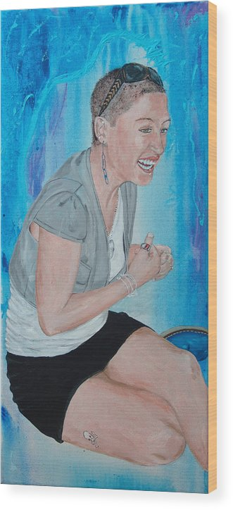 Kevin Callahan Woman Wood Print featuring the painting Blue Money by Kevin Callahan