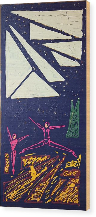 Dancers Wood Print featuring the mixed media Dancing Under The Starry Skies by J R Seymour