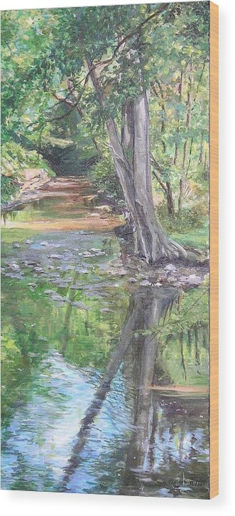 Creek Wood Print featuring the painting French Creek by Denise Ivey Telep