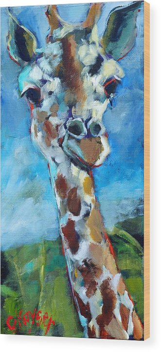 Giraffe Wood Print featuring the painting Giraffe by Claire Kayser