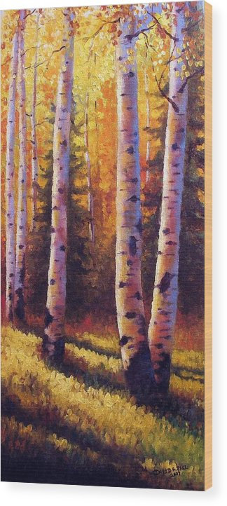 Light Wood Print featuring the painting Golden Light by David G Paul
