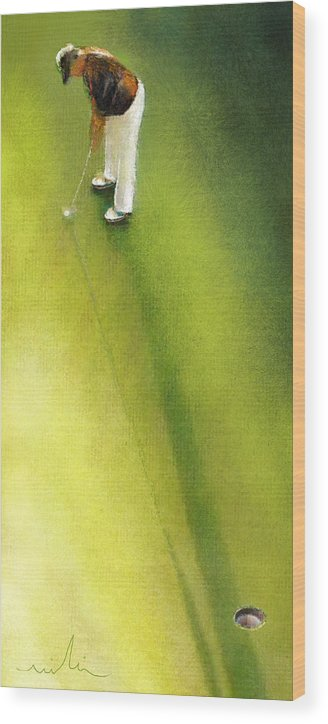 Golf Wood Print featuring the painting Golf In Spain Castello Masters 03 by Miki De Goodaboom