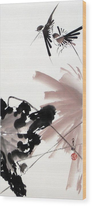 Lily Pond Wood Print featuring the painting Nesting From Dawn To Dusk by Ming Yeung